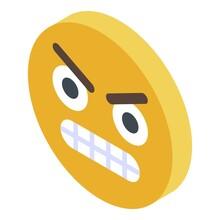 Yellow Emoji Rage Icon. Isometric Of Yellow Emoji Rage Vector Icon For Web Design Isolated On White Background