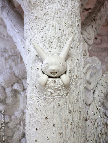 Bas-relief with amusing pikachu - decoration detail of Wat Huay Pla Kang, known фототапет