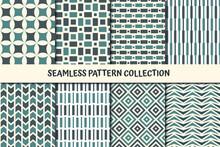 Classic Geometric Seamless Pattern Collection. Chevron, Dash Line, Triangles, Stars, Diamond, Square, Circle Print Set