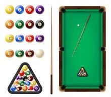 Billiard Balls And Table. Cue ...