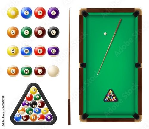 Billiard balls and table Fototapeta