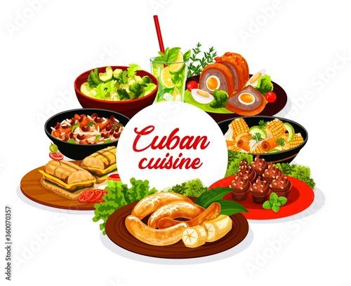 Photo Cuban cuisine round vector banner