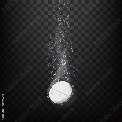 Effervescent fizzy pill in water, realistic vector. Vitamin or painkiller pill sinking in water, dissolving with air bubbles trace on transparent background. Medicine, pharmaceutical treatment #360070384