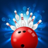 Strike in bowling alley 3d realistic vector. Pins flying aside after powerful kick of red ball. Bowling club or sport tournament background with knocked down skittles, ten-pin ball and light exposure
