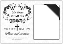 Funeral Card Vector Template, ...