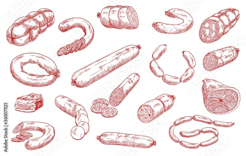 Sausages and meat products vector sketch set. Sliced salami, chorizo and pepperoni, bacon piece, hamon and mortadella, bratwurst or frankfurter sausages. Meat market, butchery, butcher shop products #360071121