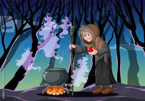 Wizard with black magic pot cartoon style on dark forest background Fototapet