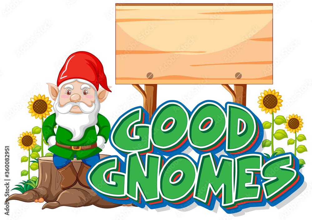 Fototapeta Good gnomes logo with blank banner on white background