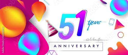 Obraz 51st years anniversary logo, vector design birthday celebration with colorful geometric background and abstract elements - fototapety do salonu