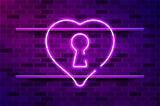 Keyhole heart glowing purple neon sign or LED strip light. Realistic vector illustration