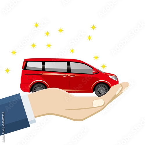 Photo 手のひら掌に乗ったミニカーのイラスト 車の売買譲渡のイメージ illustration of buying and selling cars