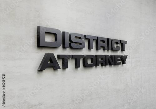 Tablou Canvas A building metal signage that says 'District Attorney'.