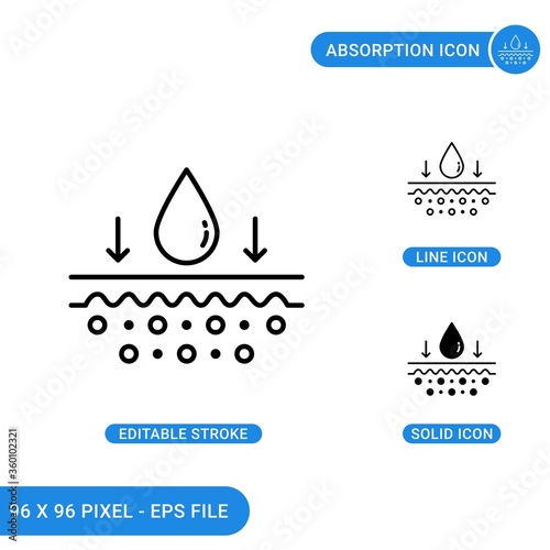 Photo Absorption card icons set vector illustration with solid icon line style