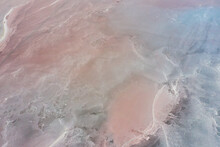 Shooting From Air To Pink Salt Lake With Amazing Patterns On The Water