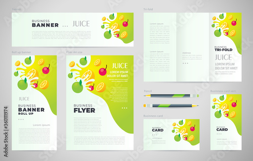 Juice fruit drops liquid  green apple element Set flyer cover, tri-fold, banner, roll up banner, business card.