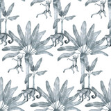 Watercolor seamless pattern with tropical monkey and palm trees. Banana palm, capuchin. Gently silver background with wildlife jungle elements. Aesthetic vintage wallpaper, wrapping - 360112363