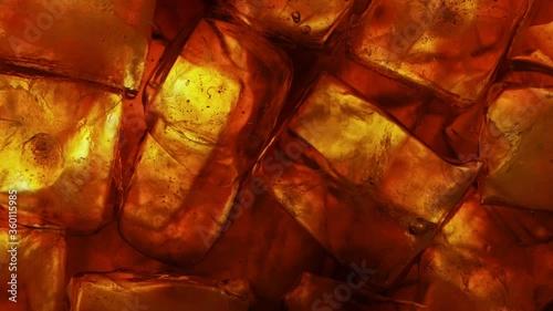 Obraz na plátně Ice Cubes with Cola, Macro Shot