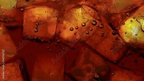 Fotografie, Obraz Ice Cubes with Cola, Macro Shot