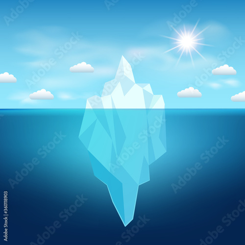 Fotografia Vector iceberg in the water, sun and clouds in north, template for design