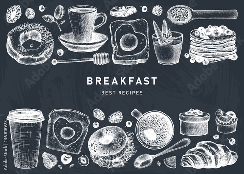 Breakfast dishes vector collection on chalk board. Morning food hand drawn illustrations. Breakfast and brunches menu design. Vintage hand drawn food and drinks sketches on chalkboard