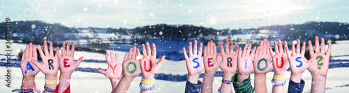 Children Hands Building Colorful English Word Are You Serious Wallpaper Mural