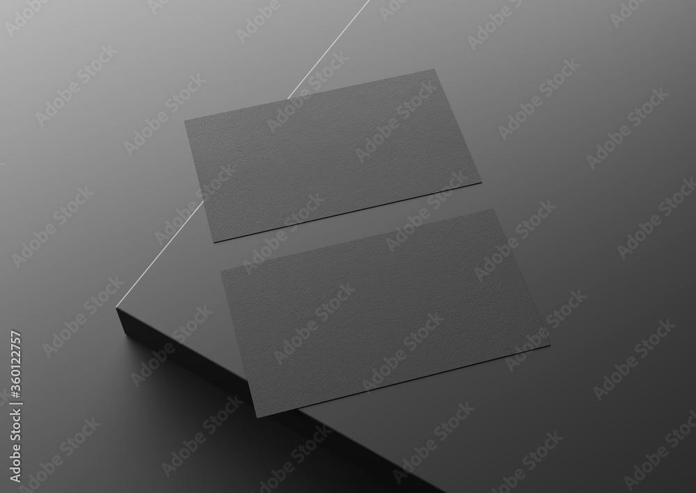 Fototapeta Two black US business card Mockup on black background. 3D rendering