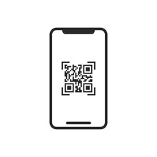 QR Code On Smartphone Screen Vector Icon