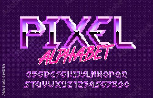 Pixel alphabet font Wallpaper Mural