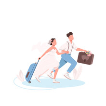 Just Married Couple With Suitcases Flat Color Vector Faceless Characters