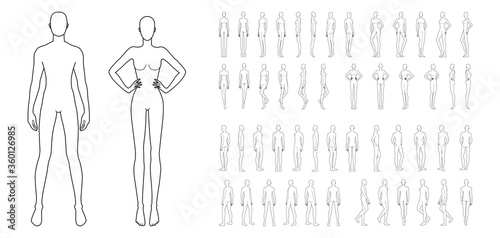 Fototapeta Fashion template of 50 men and women. 9 head size for technical drawing. Gentlemen and lady figure front, side, 3-4 and back view. Vector outline boy and girl for fashion sketching and illustration. obraz