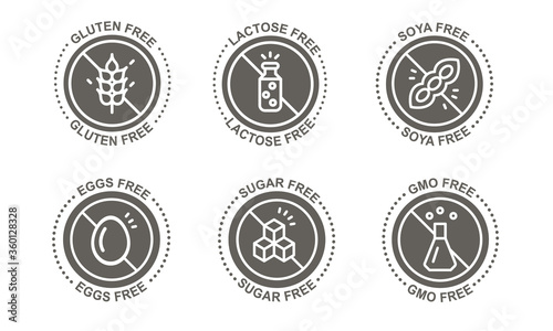 Set of 6 allergenic food in  gray, icon. Canvas Print