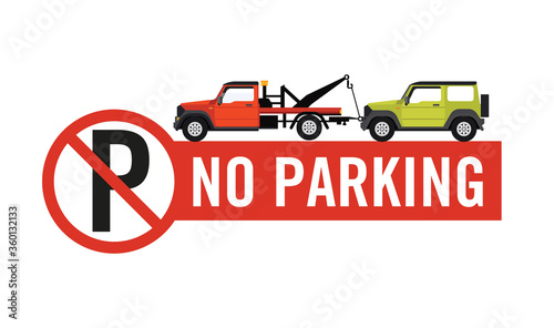 No parking sign Private Property, Tow away zone Fototapet