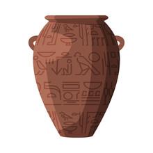 Egyptian Clay Vase Symbol Of Egypt Flat Style Vector Illustration On White Background