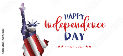 American National Holiday. US Flags with American stars, stripes and national colors. Statue of Liberty with face mask. Independence Day. 4th July.
