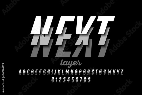 Fotografia Layered font, alphabet letters and numbers