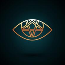 Gold Line Pentagram Icon Isola...