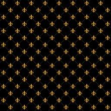 Gold Fleur De Lis Luxury Pattern. Royal Ornamental Seamless Background.