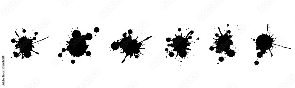 Fototapeta Vector illustration set of ink blots