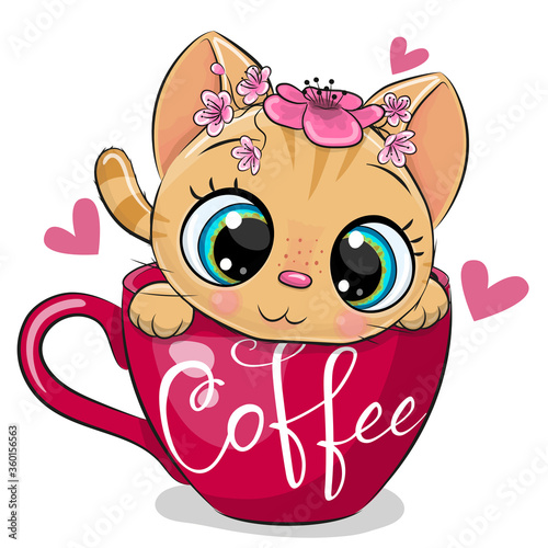 Obraz Cartoon kitten with a flowers is sitting in a Cup of coffee - fototapety do salonu