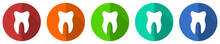 Tooth Icon Set, Red, Blue, Gre...