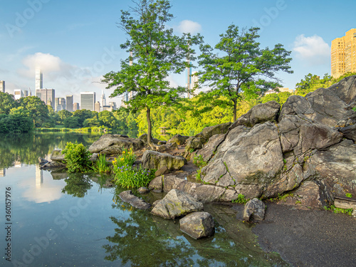 Central Park, New York City at the lake Canvas Print