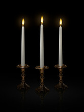 Candle Light On A Candlestick ...
