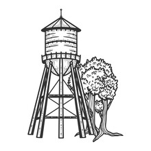 Water Tower Sketch Engraving V...