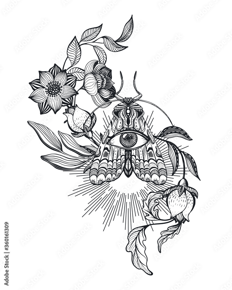 Fototapeta Vector illustration of black and white moth, flowers, branches, isolated on white background