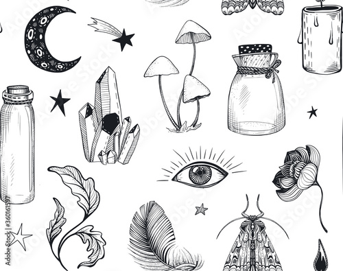 Fotografia Vector seamless pattern with hand drawn mystical magic boho elements on white