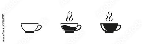 Obraz na plátně Coffee cup set black icon  on white backdrop