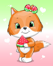 Cute Cartoon Baby Fox With Bow And  Watermelon. Summer Vector Illustration Of Animal On The Colorful Background