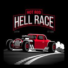 Vintage Red Hot Rod Custom Car...