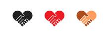 Handshake Heart Logo In Flat Style. No Rasism Set Isolated Icon. Vector
