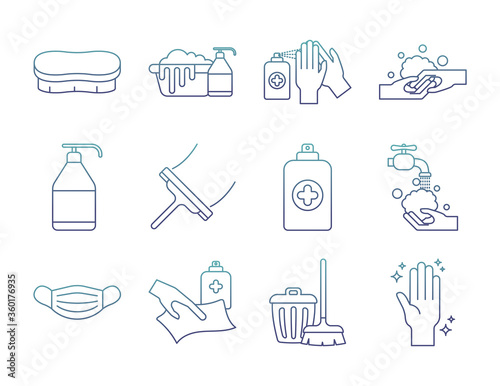 Tablou Canvas Cleaning service degraded line style icon set vector design